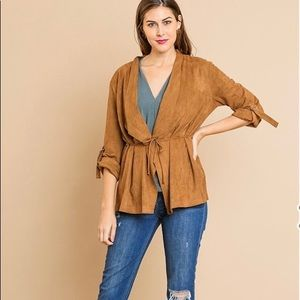 Umgee Walnut Suede Roll Up Sleeve Jacket New S M L
